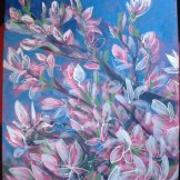 Magnolia - acrylic on canvas board.