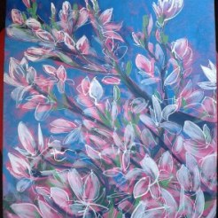 Magnolia - acrylic on canvas board.