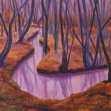 Stream in Abbots Wood - mixed media on canvas. FOR SALE