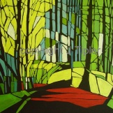 Abbots Wood path - Acrylic on Board. FOR SALE, framed