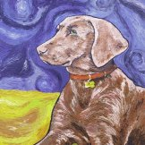 Vincent the Weimaraner. Mixed media on canvas. FOR SALE. Cards available