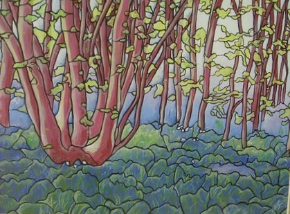 bluebell wood 1 - acrylic on board. SOLD