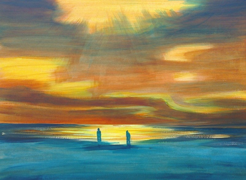 sunset birling gap - acrylic on board