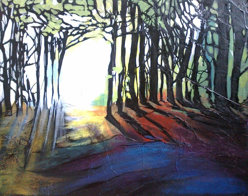 Evening light - mixed media on canvas board - FOR SALE, framed.