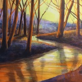 Evening stream - acrylic on board