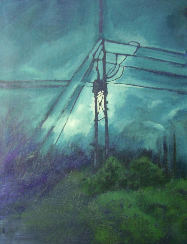 Arlington - part of my Rural Industrial series. Acrylic on paper, framed. FOR SALE